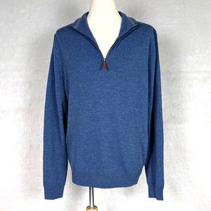 Nordstrom Blue 100% Extra Fine Merino Wool Quarter Zip Pullover Sweater Medium